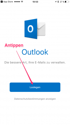1. Outlook für IOS starten