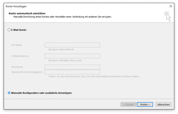 1. Outlook Kontenassistent